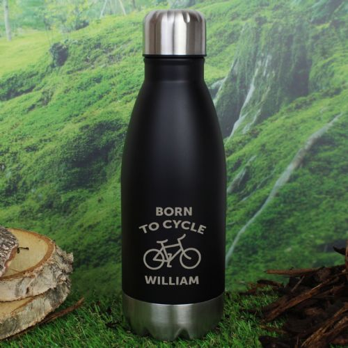 Personalised Bicycle Black Travel Bottle Stainless Steel Eco Friendly Water Bottle Gift